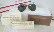 Vintage Ray Ban Bausch & Lomb Aviator Sunglasses W/Case Paper Work