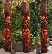 "Tribal Tiki Wood Wall Mask Patio Tropical Bar Decor 40"" tall Long Tongue"