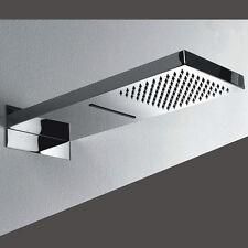 Soffione doccia a muro cascata e pioggia 500x230 mm acciaio inox doppio getto