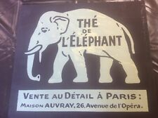 """More details for vintage french sign advertising elephant tea with paris address 18x16"""" dk brown"""