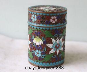 4 China Handwork Pure Bronze Copper cloisonne enamel Flower pattern Pot Jar Boxs