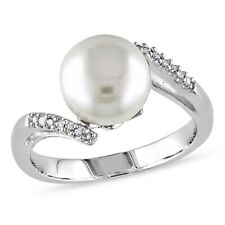 Sterling Silver Diamond Accent 9-10 mm White Freshwater Pearl Ring GH I3