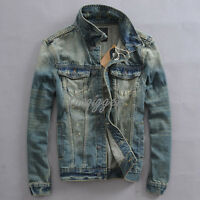 Vintage Men's Slim Fit Jean Jacket Washed Denim Fashion Coat BF Style Waistcoat