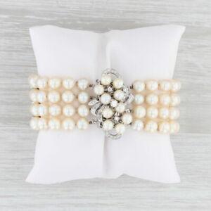 "Vintage Diamond Cultured Pearl Strand Bracelet 14k White Gold 6.75"" 4 Strand"