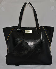 $298 DKNY Shiny Saffiano Leather Business Shopping Tote Purse Bag Zipped Pouch