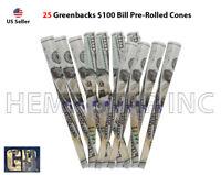 GreenBacks $100 Bill Pre-Rolled Cones king size 100% Organic Non GMO (25 Pcs.)
