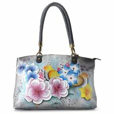 Anuschka Hand Painted Leather Zip Top Tote Hand Bag Vintage Garden Grey XL NWT