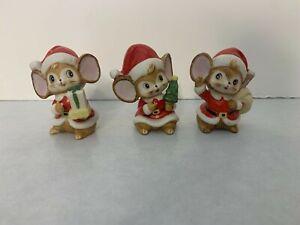 Set of (3) Vintage Homco Christmas Mice Figurines - Santa Suits 5405
