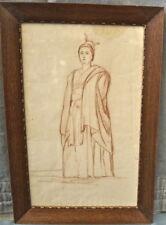 Femme drapée debout. Dessin sanguine ancien 19 ème. Cadre chêne vitré h:54x36 cm
