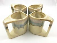 Lot of 4 Padilla Signed Coffee Mugs Stoneware Ombre Drip Glaze Flat Sided Mexico