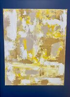 "Original Abstract Textured Acrylic Painting On Canvas 16""x20"" Gold Beige Neutral"