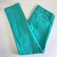 J Crew Womens Jeans Size 27 Green Super Skinny Toothpick Ankle Stretch Low Rise