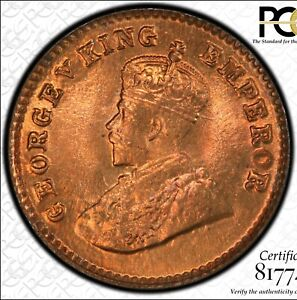 INDIA: 1926 (B) 1/12 Anna PCGS MS66RD ——————> RARE LITTLE RED GEM BEAUTY