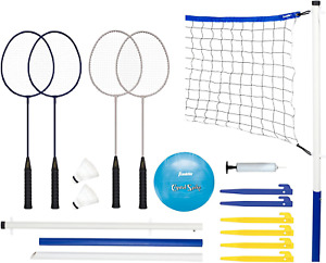 Franklin Sports Volleyball and Badminton Set - Volleyball, Pump, Badminton Net,