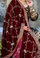 Heavy Embriodered Indian Pakistani Winter Velvet Shawls