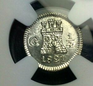 1821 G 🔥 Guatemala 1/4 Real Spain Colony Carlos IV ✨ Silver coin ✨ KM 72 Lion