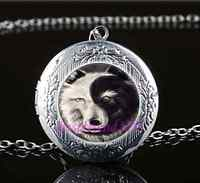 Ying And Yang Wolf Cabochon Glass Tibet Silver Locket Pendant Necklace