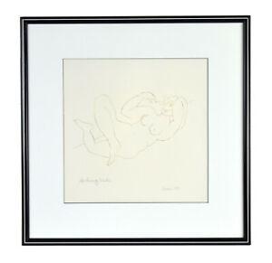 "Modern Minimalist Abstract Pen & Ink ""Reclining Nude"" sgnd Avan"