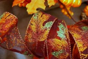 "Glitter Leaves Burgundy Organza  Wired Ribbon 1.5"" Autumn Halloween Wreath Gift"