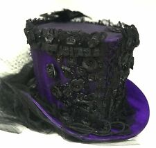 SDL Steampunk Purple Top Hat Blk Jewels Braiding Feathers, Size 57,58cm