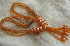 Vintage Orange Seed Glass Bead & Faux Pearl Multi Strand Necklace