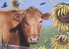 ACEO cow sunflower animal flowers limited art print KR Karen Romine