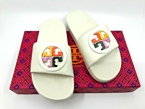 Tory Burch NEW Lina Ivory Nappa Leather Slide Multi-color Logo 5M Authentic $189