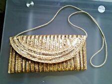 Nuevo Bling bandolero de hombro Bolso Clutch Con lentejuelas Oro/