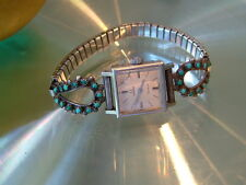 1969 OMEGA 17j Silver Turquoise Bracelet 17j Cal 485 RUNS Great