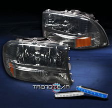 1997-2004 DODGE DAKOTA/1998-2003 DURANGO CRYSTAL SMOKE HEAD LIGHTS+BLUE DRL KIT