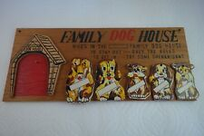 Vintage - Family Dog House Plaque - Wood - Made In Taiwan - Vg+ Condition