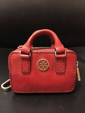 100% Authentic Tory Burch Red Robinson Keychain Coin Purse Key Fob Bag Brand New