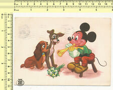 013 1965 Mickey Mouse Plays Trumpet Lady & Tramp Yugoslavia old orig. postcard
