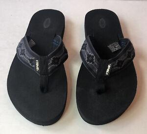 Teva Sandals Men's Size 9 Gray Canvas Strap Thong Flip Flops EUC !
