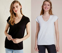 White Company Label Womens Cotton Slub V Neck Black Grey Marl T Shirt Tee Top