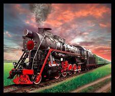 """Train Steam Engine Fleece Throw Blanket 50"""" x 60"""""""