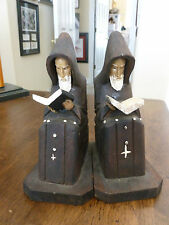 Wood Carved Bookends - Monks/Friars - Books - Painted Faces