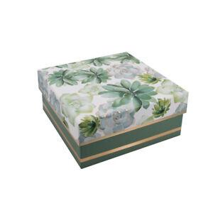 Beautiful Multi Green/Gold Floral Gift/Storage Box H:8xW:17xD:17cm - GBS218