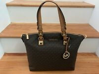 Michael Kors Karla Large Multifunction Signature Tote Purse Brown Acorn Gold NEW