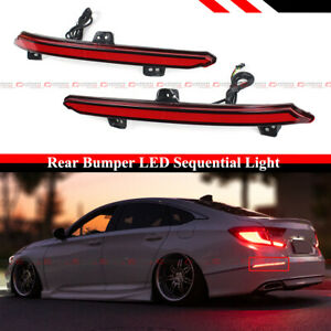 For 2018-2020 Honda Accord Red Lens Rear Bumper Reflector LED Sequential Light