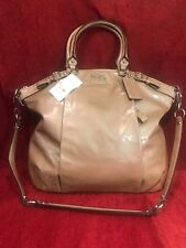 COACH MADISON LINDSAY PATENT LEATHER LG SATCHEL BAG 18627 Tan Retail $428