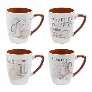 Set 4 Speciality Coffee Mugs Ceramic Stoneware Kitchen Mocha Espresso Cappuccino