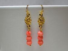 Koralle Ohrringe Ohrhänger Pink Coral & Roses vergoldet