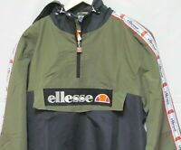 ELLESSE CANGURO OH MEN HOODED JACKET 1/2 ZIP XL OLIVE BLACK KHAKI NWT