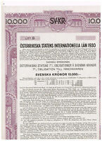 Austrian Government International Loan 1930, Vienna 1930, 10.000 Svenska Kronor