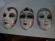 FACE MASKS WALL HANGING DECOR ACCENT PIECES CERAMIC THEATER FACES SET OF 3