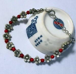 Jewelry Bracelet Tibetan Silver Ladies Red beads Bangle New