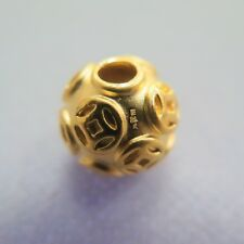 New Pure 999 24K Yellow Gold Pendant Perfect Coin Lucky Round DIY Bead 14mm