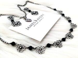 RARE RETIRED James Avery Necklace Earrings Set Sorrento Onyx Filigree
