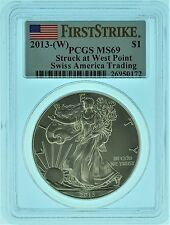 "2013 ""W"" PCGS MS69 First Strike Swiss America American Silver Eagle (b45z)"